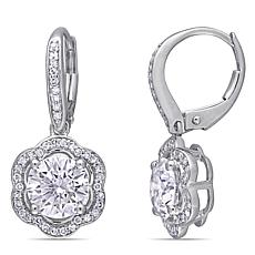 10K White Gold 2.50ctw Moissanite and .25ctw Diamond Floral Earrings