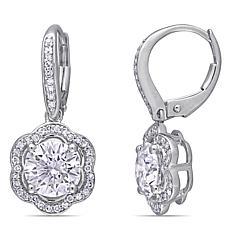 10K White Gold 2.50ctw Moissanite and .25ctw Diamond Floral Earrings
