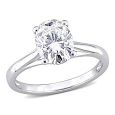 10K White Gold 2ctw Moissanite Oval Solitaire Engagement Ring
