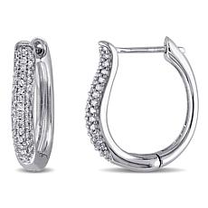 10K White Gold .32ctw White Diamond Hoop Earrings