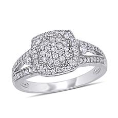 10K White Gold .35ctw Diamond Round Split-Shank Engagement Ring