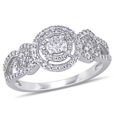 10K White Gold .50ctw Diamond Woven Pavé Engagement Ring