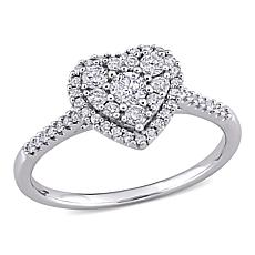 10K White Gold .5ctw Diamond Cluster Heart Halo Engagement Ring