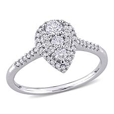 10K White Gold .5ctw Diamond Pear-Shape Cluster Halo Engagement Ring