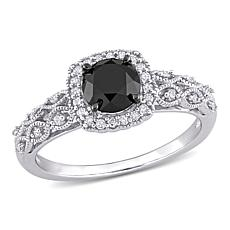 10K White Gold .73ctw Black and White Diamond Vintage Engagement Ring