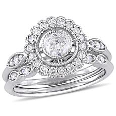 10K White Gold .73ctw Diamond Halo Bridal Ring Set