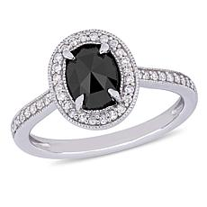 10K White Gold Black and White Diamond Halo Ring