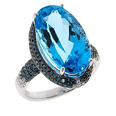 10K White Gold Blue Topaz and Blue and White Diamond Ring