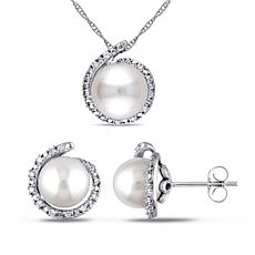 10K White Gold Cultured Pearl and Diamond Halo Earrings and Pendant