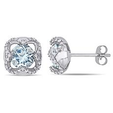 10K White Gold Diamond and Aquamarine Square Stud Earrings