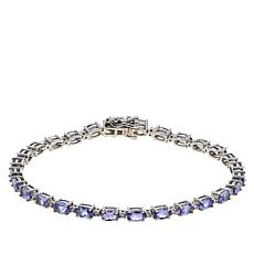 10K White Gold Oval Tanzanite and Diamond Tennis Bracelet