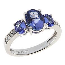 10K White Gold Tanzanite and Diamond 3-Stone Ring