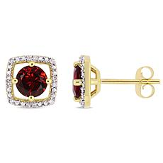 10K Yellow Gold 1.29ctw Garnet and Diamond Stud Earrings