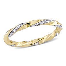 10K Yellow Gold .25ctw Diamond Twist Eternity Band Ring
