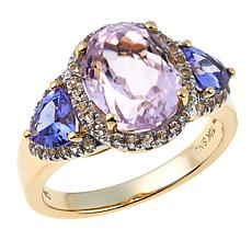10K Yellow Gold 3.87ctw Pink Kunzite and Gemstone Ring