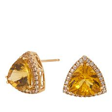 10K Yellow Gold 6.39ctw Apatite and Zircon Stud Earrings