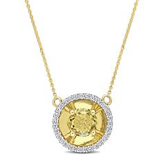 10K Yellow Gold Citrine and Diamond Drop Necklace