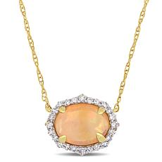 10K Yellow Gold Diamond and Ethiopian Opal Halo Necklace