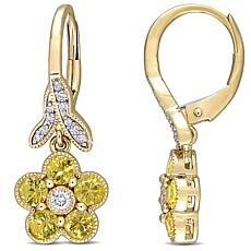 10K Yellow Gold Diamond and Yellow Sapphire Floral Leverback Earrings