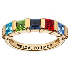 10K Yellow Gold Square Family Birthstone Ring - 5 Stones