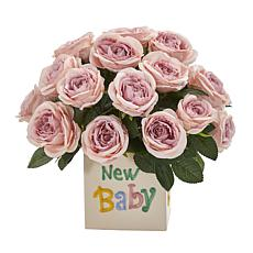 12 in. Rose Artificial Arrangement New Baby Vase