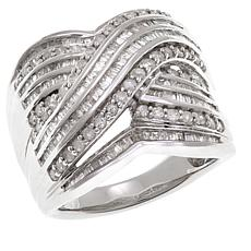 1.25ctw Diamond Baguette Criss-Cross Ring