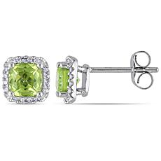 1.39ctw Peridot and Diamond 10K  Halo Earrings