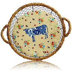 14.5 Inch Wood Basket Set with Mesh Wire and Handles-COW DESIGN