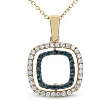 "14K 0.5ctw Blue and White Diamond Reversible Pendant with 18"" Chain"