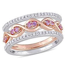 14K 2-Tone Gold 0.57ctw Diamond and Pink Sapphire 3-pie