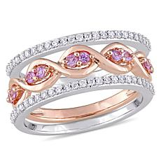 14K 2-Tone Gold 0.57ctw Diamond and Pink Sapphire 3-piece Ring Set