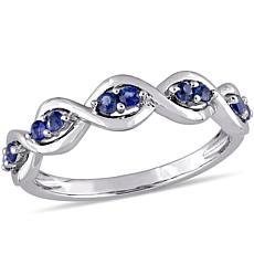 14K Gold 0.27ctw Blue Sapphire Stackable Infinity Ring
