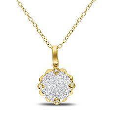 """14K Gold 0.4ctw Round Diamond Cluster Pendant with 18"""" Cable Chain"""