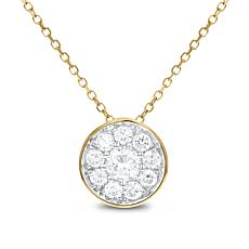 """14K Gold 0.5ctw Round Diamond Cluster Pendant with 18"""" Cable Chain"""