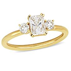 14K  Gold 0.97ctw Emerald-Cut Diamond 3-Stone Engagement Ring