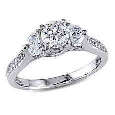 14K Gold 0.99ctw Round and Half-Moon Diamond Ring