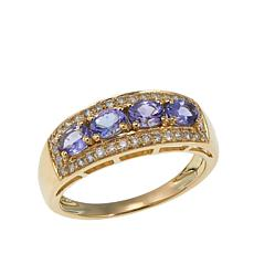 14K Gold 0.9ctw Tanzanite and Diamond Ring