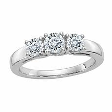 14K Gold 1.06ctw Moissanite Round Three-Stone Ring