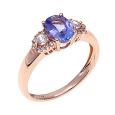 14K Gold 1.3ctw Tanzanite and White Zircon Ring