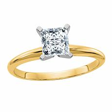 14K Gold 1ct Moissanite Princess-Cut Solitaire Ring