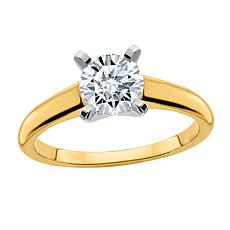 14K Gold 1ct Moissanite Round-Cut Solitaire Ring