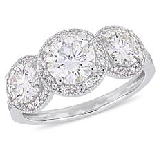 14K Gold 2.25ct Moissanite & 0.28ctw Diamond Double-Halo 3-Stone Ring