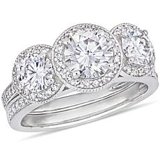 14K Gold 2.25ctw Moissanite and 0.41ctw Diamond Round 3-Stone Ring Set