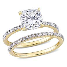 14K Gold 2ctw Moissanite and .23ctw Diamond Cushion 2pc Ring Set