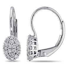 14K Gold .32ctw Diamond Leverback Earrings