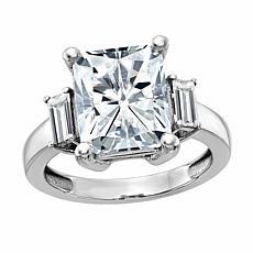 14K Gold 3.37ctw Moissanite Emerald-Cut Three-Stone Ring
