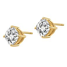 14K Gold 4ctw Moissanite Cushion-Cut Stud Earrings