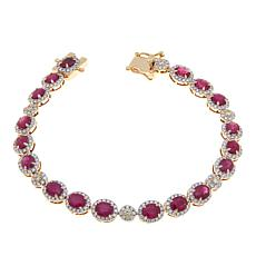 14K Gold 7.8ctw Ruby and Multicolor Diamond Bracelet