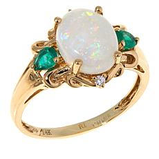 14K Gold Australian Opal, Emerald and Diamond Ring