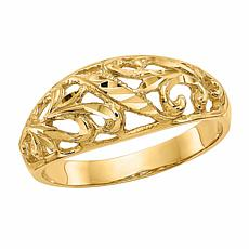 14K Gold Diamond-Cut Paisley Design Dome Ring